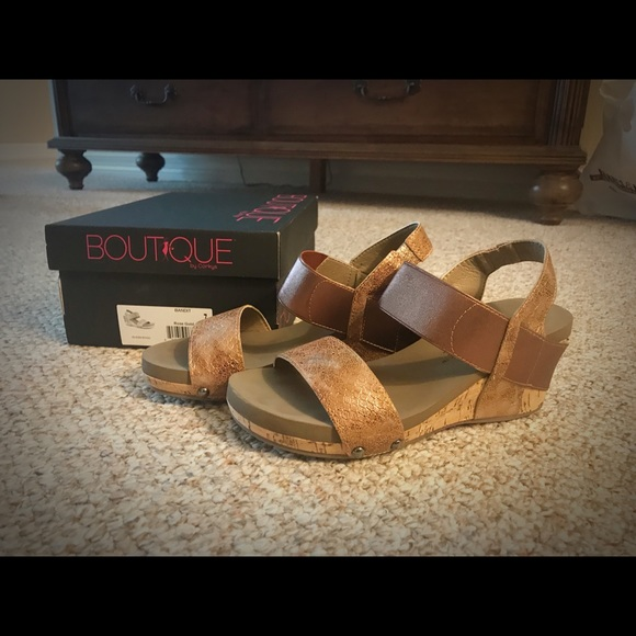 7b48770c265 Boutique by Corkys Shoes - Bandit Rose Gold Wedge Sandals
